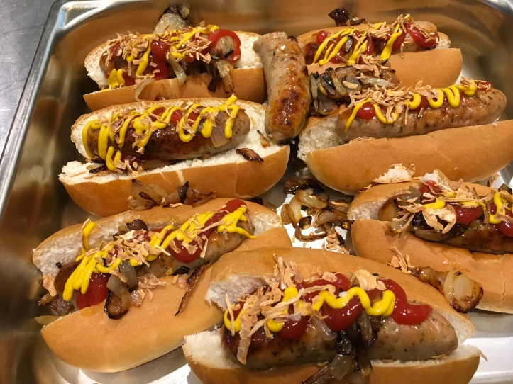 Lincolnshire sausage hot dogs