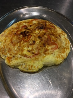 Red pepper and chicken frittata with feta again using up chicken.