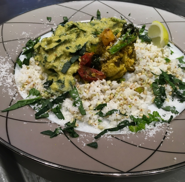 Indian Raw spinach curry with cauliflower and buck wheat rice