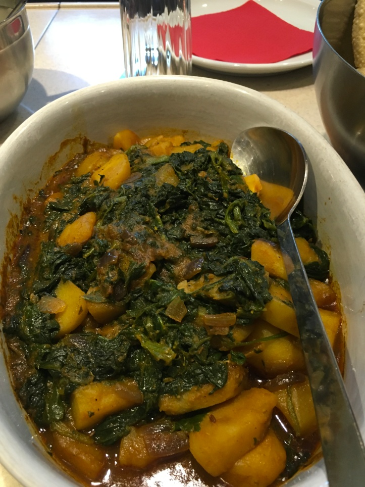 Bombay potatoes with spinach