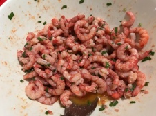 Beautiful Sicilian red freshly peeled prawns
